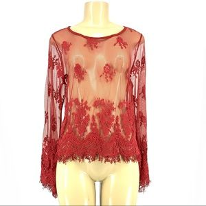 Daytrip Women Sheer Lace Blouse Top